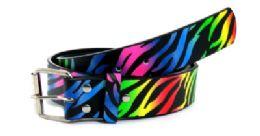 48 of Rainbow Zebra Print Belt