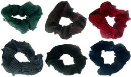 72 of Assorted Color Ribbed Sateen Scrunchies With Beads