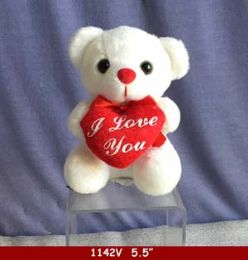 "60 of 5.5"" White Bear With Red Heart"