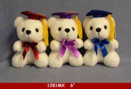 "60 of 6"" White Graduation Bear"