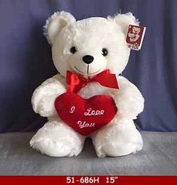 "12 of 15"" White Soft Plush Bear With Red Heart"