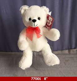 "24 of 8"" Soft Plush White Bear With Red Ribbon"