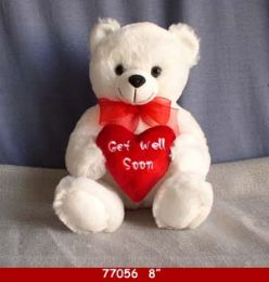 "24 of 8"" White Plush Get Well Soon Bear"