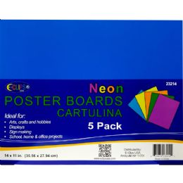 """36 of Poster Board - Neon Colors - 5 Pack - 11"""" X 14"""""""