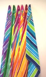 12 of Luxury Beach Towel Double Jacquard Candy Stripe Assorted Colors 30 X 60