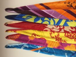"""12 of Luxury Beach Towel Double Jacquard """" Madiera """" Assorted Colors 34 X 63"""