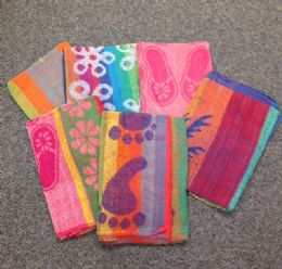 24 of Jacquard Beach Towels Assorted Colors And Patterns 30 X 60