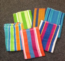 24 of Jacquard Stripe Beach Towels 5 Assorted Colors 30 X 60