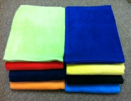12 of Terry Velour Beach Towels Solid Color 100% Cotton 30 X 60 Red