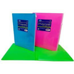 48 of 2 Pocket Folder With Zipp Envelope, Neon Colors, In Display