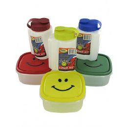 72 of 16oz Bottle W/ Lid & 5x5'' Happy Face Plastic Container