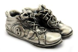 16 of Pewter Paper Weight Shaped As A Pair Of Tennis Shoes With The Oklahoma University Symbol