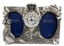 10 of Dual Picture Frame Made Of Pewter With Assorted Golf Designs And A Clock In The Center