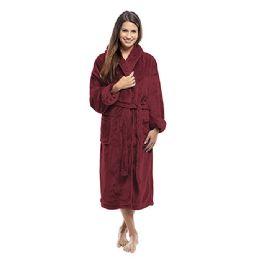 4 of Tahoe Fleece Shawl Collar Robe In Burgundy