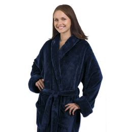 4 of Tahoe Fleece Shawl Collar Robe In Navy Blue