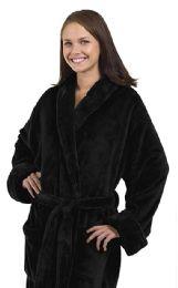 4 of Tahoe Fleece Shawl Collar Robe In Black