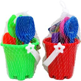 "72 of 3.5"" Beach Toy Bucket W/acss In Pegable Net Bag, 4 Assrt"