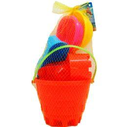 "12 of 6"" Beach Toy Bucket W/acss In Pegable Net Bag, 2 Assrt"