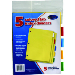 72 of Index Tab Dividers, 5 Pk., Asst. Color Tabs