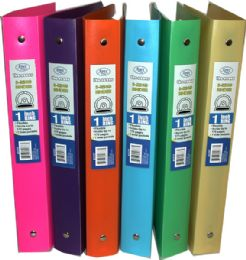 48 of 1 Inch Poly Binder, Clear Line,asst Neon Colors In Display