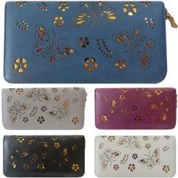 36 of Laser Cut Butterfly Design One Zip Faux Leather Wallet.