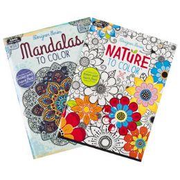 48 of Coloring Book Adult 32pg 2 Asst Nature & Mandalas