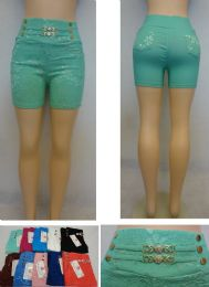 24 of Ladies Fashion Stretch Shorts [lace Design]