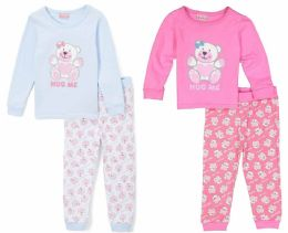 "24 of Toddler Girls ""hug Me"" Pajama Sets - Solid Colors - Sizes 2-4t"