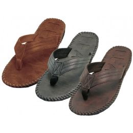 36 of Men's Side Stiches Emboss Thong Sandals