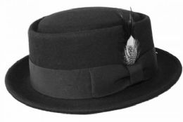 6 of Wool Felt Pork Pie Hats In Black