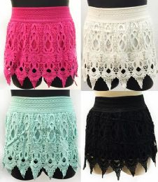 12 of Solid Color Crochet Skirts With Fringes Assorted Sizes