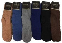 36 of Men's Solid Color Fuzzy Sock