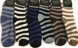 96 of Man Fuzzy Socks With Stripes Assorted
