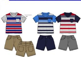 36 of Boys Twill Short Sets 3 Colors Size 12-24