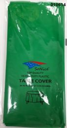 144 of Round Heavy Duty Plastic Table Cover 84 Inch Round In Emerald