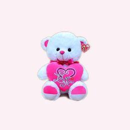 "15"" Musical White Bear W/pink Heart"