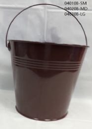 24 of Metal Bucket Small In Brown