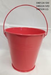 24 of Metal Bucket Small In Coral