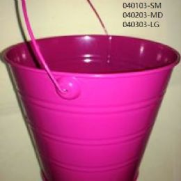 24 of Metal Bucket Small In Hot Pink