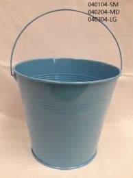 24 of Metal Bucket Small In Light Blue