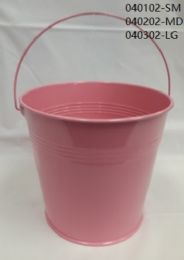 24 of Metal Bucket Small In Light Pink
