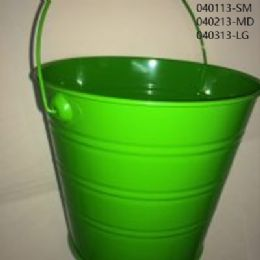 24 of Metal Bucket Small In Lime Green