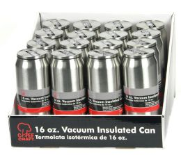 16 of Stainless Steel Vacuum Can W/straw 16oz.,