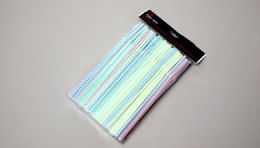 "24 of Straws Flexible Striped 150 Piece 8"""