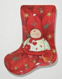 24 of Plate, Stocking ShapE- Red Elf, 9-1/2""