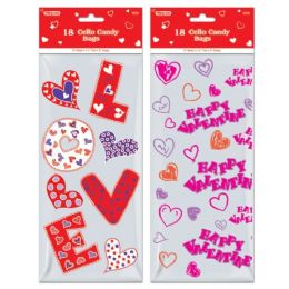 96 of Eighteen Count Cello Candy Bag Valentines