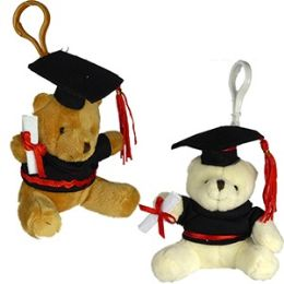 48 of Plush Graduation Teddy Bear Zipper Pull Keychains