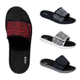 48 of Men's Velcro Slippers Assorted Colors