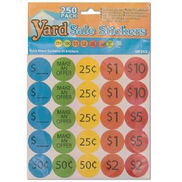 72 of 250 Piece Yard Sale Pricing Stickers