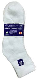 6 of Yacht & Smith Men's Loose Fit NoN-Binding Soft Cotton Diabetic Quarter Ankle Socks,size 10-13 White